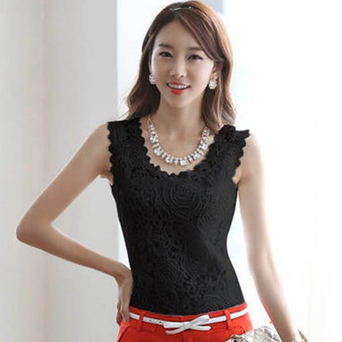 Fashion Women Ladies Lace Floral Strap Tank Vest Tops Blouse Shirt Summer Blusa - GKandAa - 2