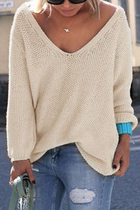 Women's Pullovers elegant V-neck Look knit sweater
