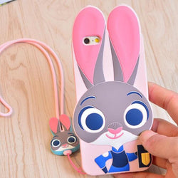 Case + Strap, ZOOTOPIA Rabbit Judy Fox Nick Silicone 3D Cover For iPhone 5S 5 SE 6 6s Plus Lovely Cute Animal Phone Accessories - GKandAa - 1