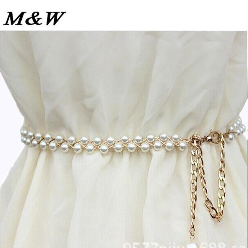 Women Belt White Crystal Rhinestone Pearl Wedding-GKandaa.net