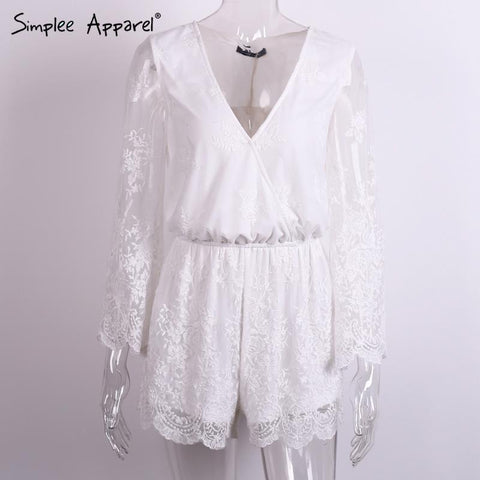 Simplee Apparel Sexy deep v neck white lace elegant jumpsuit romper Summer style beach short playsuit Women guaze boho overalls - GKandAa - 2