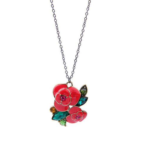 Rose Pendant Necklace  Fashion Elegant Resin  Flower  Jewelry for-GKandaa.net