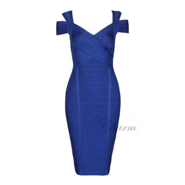 Women's Dresses blue v-neck evening party y Sleeve-GKandaa.net