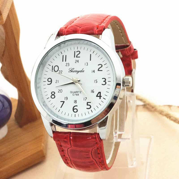 Women Wrist Watch Leather Strap Roma Numerals Dial-GKandaa.net