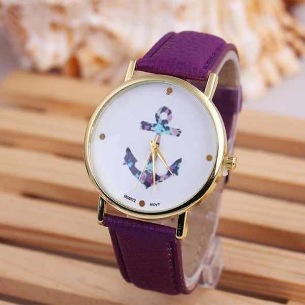Women Wrist Watch luxury Vintage Anchor Leather luxe 160-GKandaa.net
