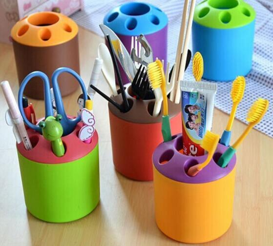 1PCS Multifunctional 6 Holes Plastic Toothbrush Pens Pencil knife and fork Holder Container Tube Bracket Cups Bathroom Products - GKandAa - 1