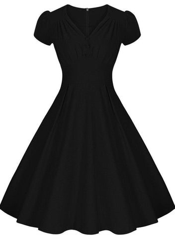 Tonval Women Audrey Hepburn Vintage Dress Summer Ruffle Ruched V Neck Sexy Evening Party Elegant 1950s Rockabilly Swing Dresses - GKandAa - 2
