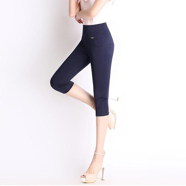 Women's Leggings Elastic Waist Calf-Length Pants-GKandaa.net