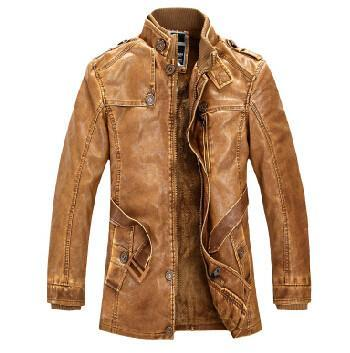Men's PU Leather Jackets Long Worm-GKandaa.net