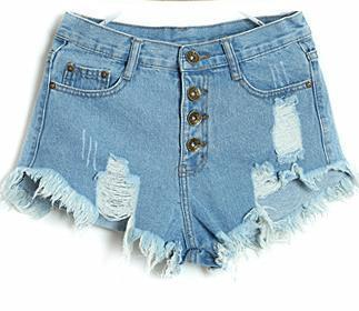 Women's Shorts Wash Blue Ripped Yellow-GKandaa.net