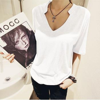 Women T-Shirt Top fashion Cotton V-Neck-GKandaa.net