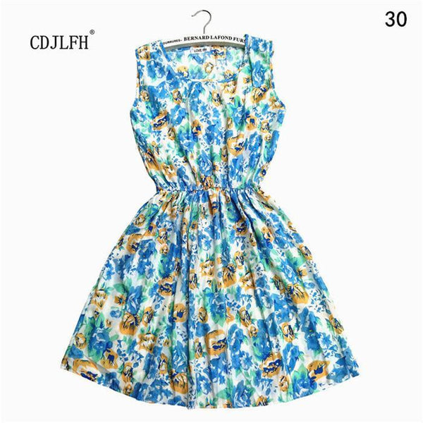 Summer dresses Sleeveless Printed Sleeveless-GKandaa.net