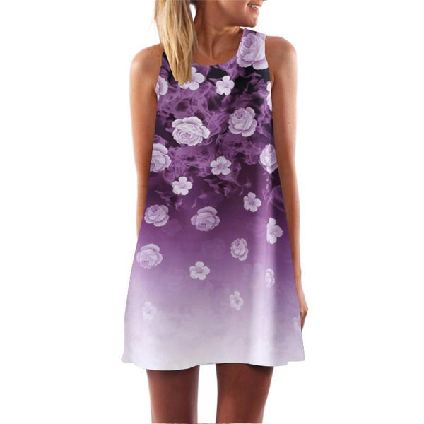 Women's Dresses Butterfly o-neck mini Sleeveless-GKandaa.net