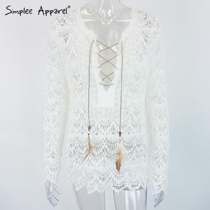 Women's Blouses Shirts Apparel elegant white lace long Sleeve v-neck-GKandaa.net