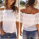Plus Size S-XXL Summer Style Women Sexy Tops Casual Off Shoulder Blouse Chiffon Lace Floral Blouse Shirts - GKandAa - 3