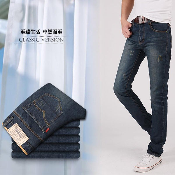 Men's Jeans Male Casual Straight old Slim fold Full Length-GKandaa.net