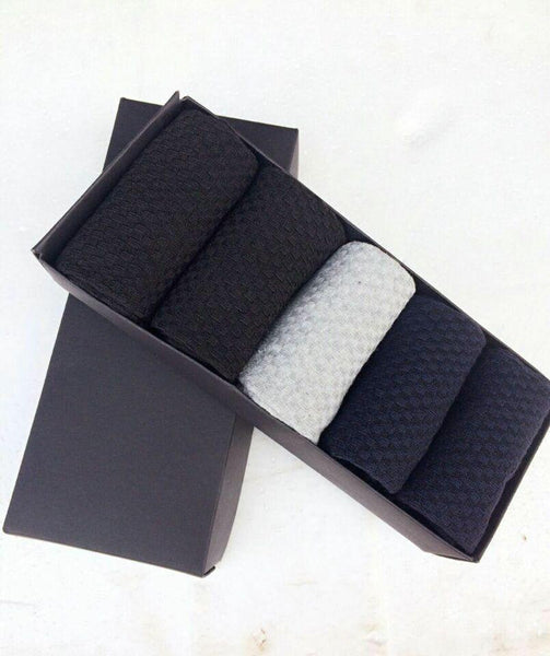 Men's Socks 5pairs fashion bamboo fiber gift box-GKandaa.net