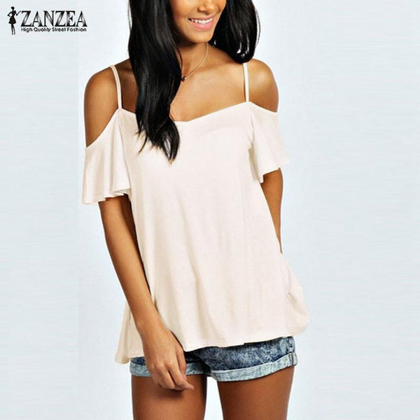 Women T-Shirt Top off shoulder Slash Short Sleeve Stretch-GKandaa.net