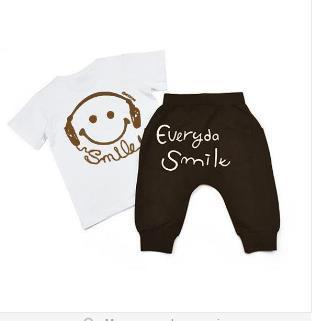 Baby Clothing Sets Summer Smile Printed Cute T-Shirts+ pants-GKandaa.net