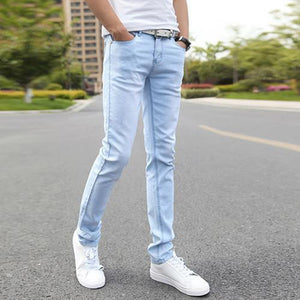 Men's Jeans Elastic Straight pants Stretch Blue Size 27-36-GKandaa.net