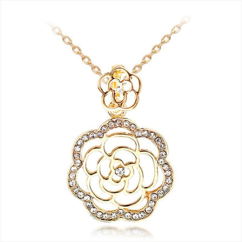 Rose Pendant Necklace  Gold Color Crystal Rose Flower-GKandaa.net