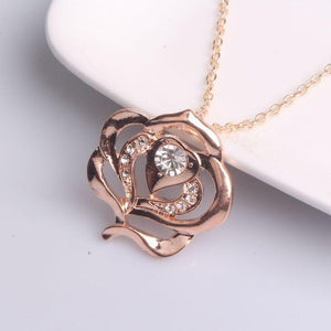 Rose Pendant Necklace  Golden Flower  Jewelry Woman Girls Accessories-GKandaa.net