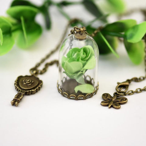 Rose Pendant Necklace  1pc Little Prince  Retro Crystal Glass Vial-GKandaa.net