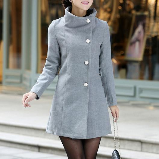 Women Trench Coat Winter Long Outwear Collar Elegant Belt-GKandaa.net