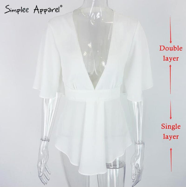 Women's Blouses Shirts Lady Apparel elegant white chiffon v-neck-GKandaa.net