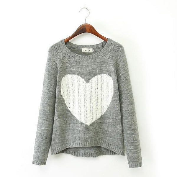 Women's Pullovers elegant Heart sweater-GKandaa.net