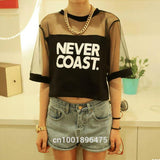 Summer Lady Women Crew Neck Gauze T-Shirt Loose Crop Tops Short Casual Black, White - GKandAa - 3