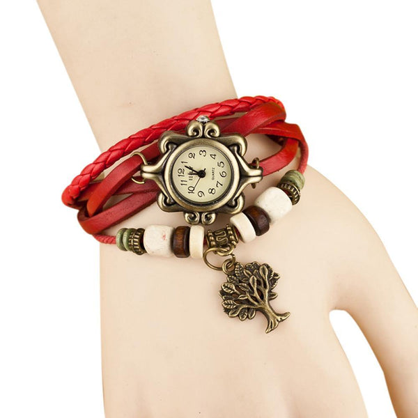 Women Wrist Watch Weave Around - Leather Bracelet Tree pendant Gift-GKandaa.net