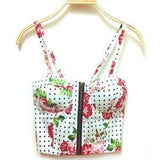 Summer Women Girls Sweet Floral Bustier Padded Zipper Crop Tank Tops Sexy Blouses X16 - GKandAa - 8
