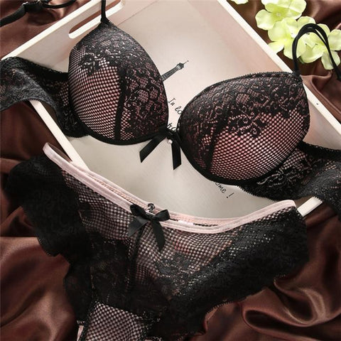New Sexy Cozy Women Lace Cotton Bra Set Embroidery Underwear Push Up Bra and Briefs - GKandAa - 5