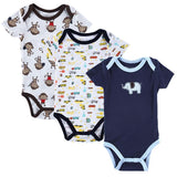 Kids, baby, 3 Pieces/lot Fantasia Baby Bodysuit Infant Jumpsuit Overall Short Sleeve Body Suit Baby Clothing Set Summer Cotton - GKandAa - 9