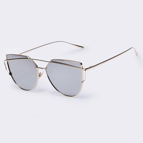 Winla New Fashion Cat Eye Sunglasses Women Famous Twin-Beams Ladies Sunglasses Metal Mirror Glasses Sexy Shades - GKandAa - 3