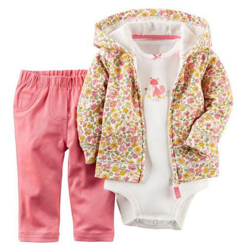 Kids, baby, Baby girl ,kids baby boy clothes coat+bodysuit+pant 3 pcs infant boy clothing set - GKandAa - 18