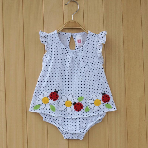 Baby Bodysuits dotted with three daisies romper jumps 4size-GKandaa.net