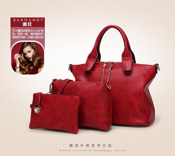 Shoulder Bags 3 Pcs/Set vintage Solid Office Lady Casual Tote --GKandaa.net