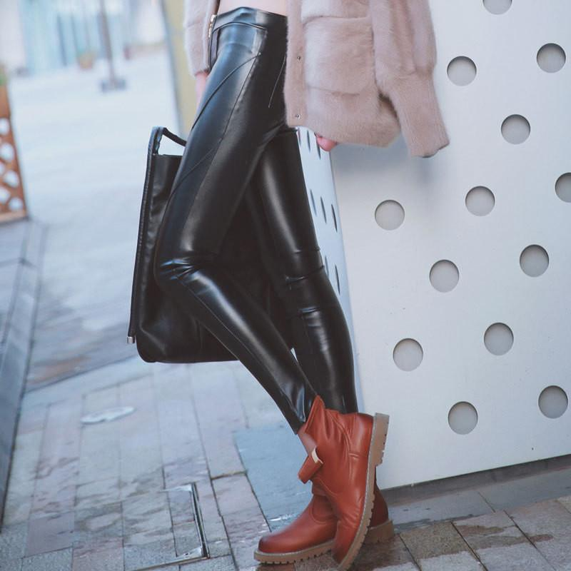 Women Pants PU Leather Outer Wear Elastic Bottom-GKandaa.net