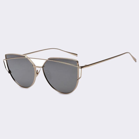 Women Cat Eye Sunglasses Famous Lady Twin-Beams Coating Mirror Glasses UV400 - GKandAa - 3