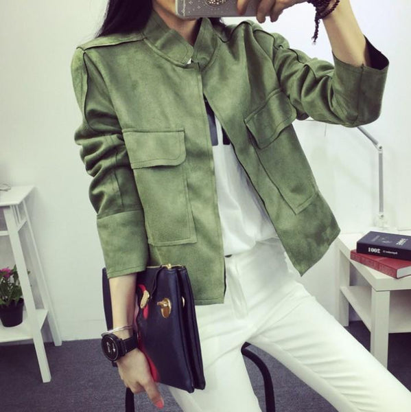 Women's Jackets Early Retro Suede All-Match Military Coat 6 Colors S~L-GKandaa.net