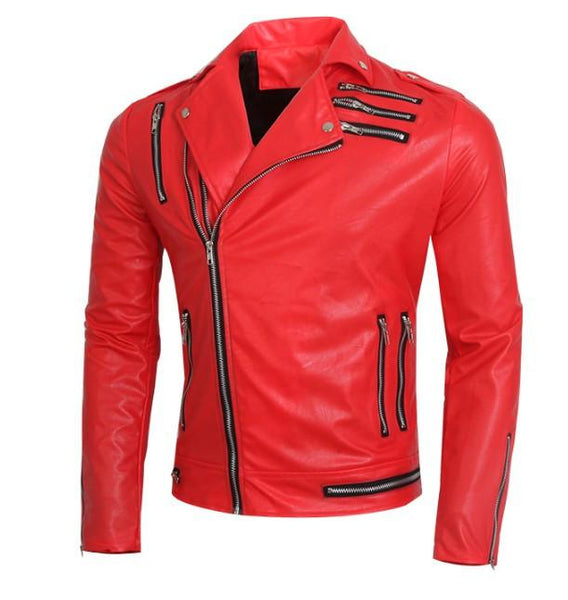 Men's Leather Jackets fashion multi zipper slim casual red/-GKandaa.net