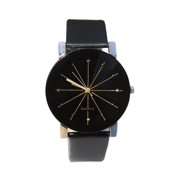 Women Wrist Watch PU Leather Strap Round Dial Couples-GKandaa.net