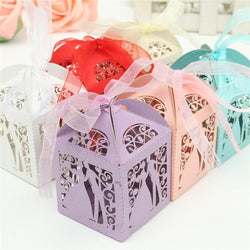 Colorful Laser Cut Bride and Bridegroom Wedding Box Pearlscent Candy Paper Bags Wedding Party Candies Gifts Pouches+Ribbons - GKandAa
