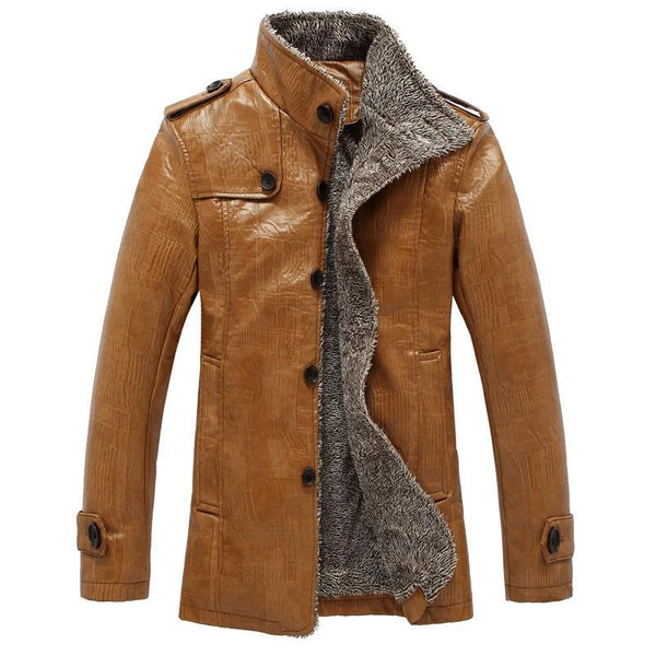 Men's Leather Jackets Coats winter warm plus velvet PU Fur-GKandaa.net