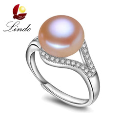 100% real freshwater pearl ring for women 925 sterling silver adjustable ring AAA zircon 9-10mm AAAA natural pearl jewelry R001 - GKandAa