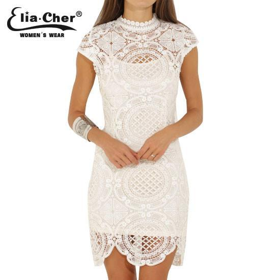 Women's Dresses White Lace-GKandaa.net