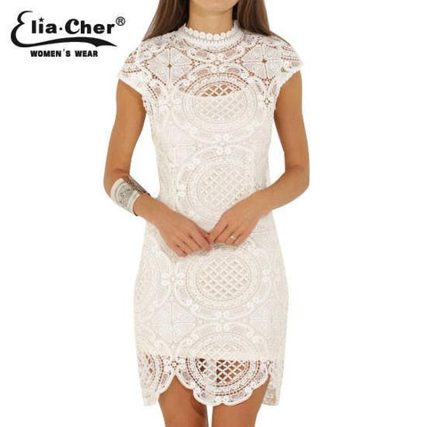 Women Dress Bodycon Dresses Eliacher Brand Plus Size Chinese Women Clothing Sexy White Evening Party Lace Dresses - GKandAa - 2