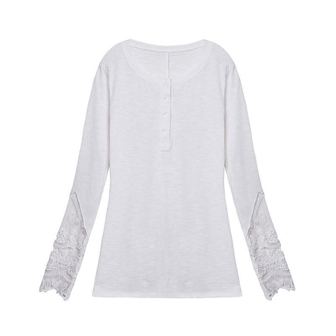 Fashion New Fashion Women Spring Autumn Lace Patchwork Shirts Casual Long Sleeve O-Neck Blouse Tops blusa feminina - GKandAa - 4